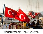 turkish flags on boats moored...