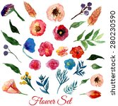 vector  watercolor flowers with ... | Shutterstock .eps vector #280230590