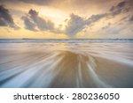 waves runs on the beach at dawn   Shutterstock . vector #280236050