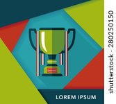trophy cup flat icon with long... | Shutterstock .eps vector #280250150