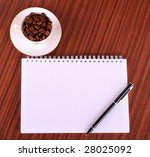 pen notebook  and coffee on... | Shutterstock . vector #28025092