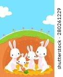 Illustration Of Happy Rabbits...