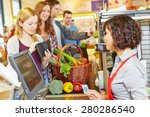 young woman in supermarket... | Shutterstock . vector #280286540