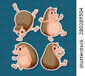four positions of same hedgehog ... | Shutterstock .eps vector #280289504