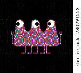 colorful pixel monster on black ... | Shutterstock .eps vector #280291553