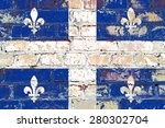 Quebec Flag Painted On Old...