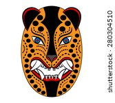 mexican mask jaguar head on a... | Shutterstock .eps vector #280304510