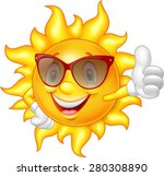 cartoon sun giving thumb up | Shutterstock .eps vector #280308890