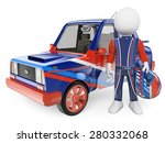 3d white people.  racing driver ... | Shutterstock . vector #280332068