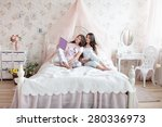 mother and daughter in pajamas... | Shutterstock . vector #280336973