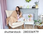 girl in pajama with beige cover ... | Shutterstock . vector #280336979