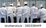 group of chefs in white uniform ...   Shutterstock . vector #280338449