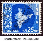 india circa 1957  a stamp... | Shutterstock . vector #280338980