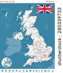 united kingdom map  flag ... | Shutterstock .eps vector #280339733