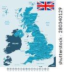 United Kingdom Map  Flag And...