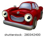 a happy red old fashioned car... | Shutterstock .eps vector #280342400