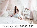 woman in light bedroom enjoying ... | Shutterstock . vector #280351253