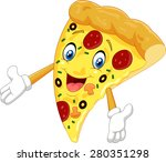cartoon pizza waving | Shutterstock .eps vector #280351298