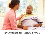 woman looking after sick father | Shutterstock . vector #280357913