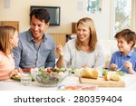 family sharing meal | Shutterstock . vector #280359404