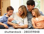 family at home with new baby | Shutterstock . vector #280359848