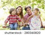 family riding bikes | Shutterstock . vector #280360820