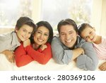 young hispanic family relaxing... | Shutterstock . vector #280369106