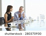 two business colleagues sitting ... | Shutterstock . vector #280370930