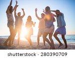 happy friends dancing on the... | Shutterstock . vector #280390709