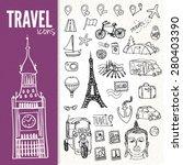 hand drawn travel symbols set | Shutterstock .eps vector #280403390