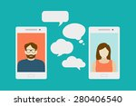 concept of a mobile chat or... | Shutterstock .eps vector #280406540