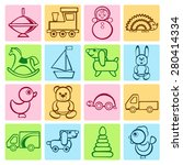 baby colorful flat design icons ... | Shutterstock .eps vector #280414334