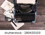 retro typewriter on wooden... | Shutterstock . vector #280420103