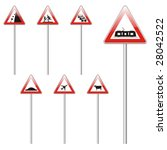 isolated european road signs | Shutterstock .eps vector #28042522