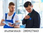 mechanic works with customer... | Shutterstock . vector #280427663