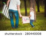 happy father making wooden... | Shutterstock . vector #280440008