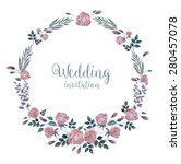 vector watercolor wreath with... | Shutterstock .eps vector #280457078