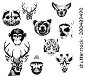 Vector Set Of Animals Grunge...