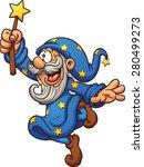 Cartoon Wizard With Magic Wand. ...