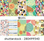 ten abstract artistic seamless... | Shutterstock .eps vector #280499540