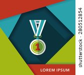 medal flat icon with long... | Shutterstock .eps vector #280512854