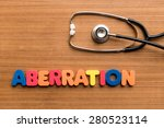 Small photo of Aberration colorful word with Stethoscope on wooden background