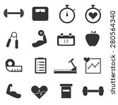 gym icons set | Shutterstock .eps vector #280564340