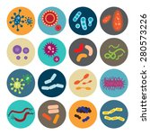 set of icons with bacteria and... | Shutterstock .eps vector #280573226
