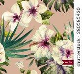 Watercolor Vector Tropical...