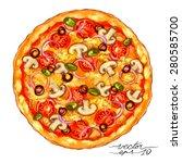 watercolor style vector hand... | Shutterstock .eps vector #280585700