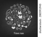 love run girl vector icons set... | Shutterstock .eps vector #280591943