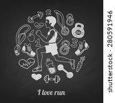 run hand drawn set vector a... | Shutterstock .eps vector #280591946