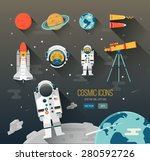 vector flat education space... | Shutterstock .eps vector #280592726