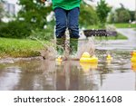 little boy  jumping and playing ... | Shutterstock . vector #280611608